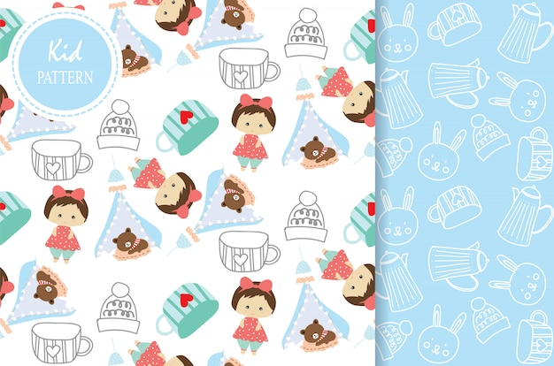 Light blue white seamless pattern with bear girl and cup