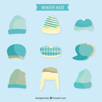 ライトブルー冬の帽子フラットコレクション