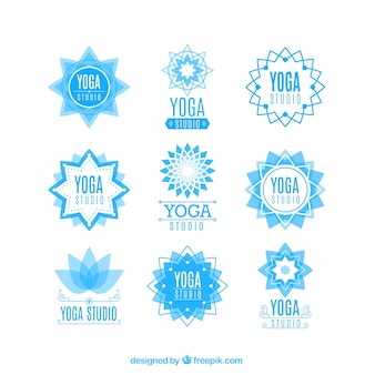 Light blue yoga center floral logos