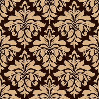 Light brown floral seamless pattern on dark brown background with dainty flowers in damask style