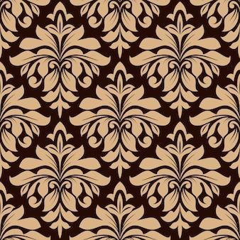 Светло-коричневый цветочный бесшовный узор на темно-коричневом фоне с изящными цветами в стиле дамасской
