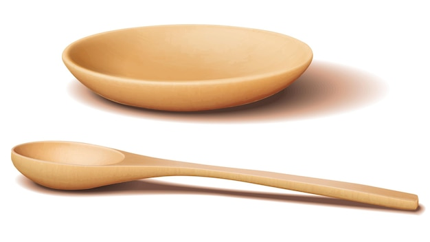 Light brown wooden bowl and wooden spoon with realistic shadow