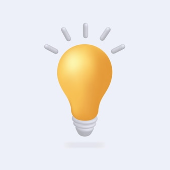 Light bulb 3d style minimal yellow icon idea solution business strategy concept  icons web