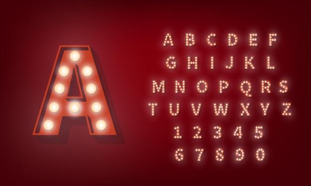 Алфавит лампочки. бродвейский шрифт типографии в стиле ретро.