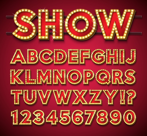 Light bulb alphabet with gold frame and shadow on red background.