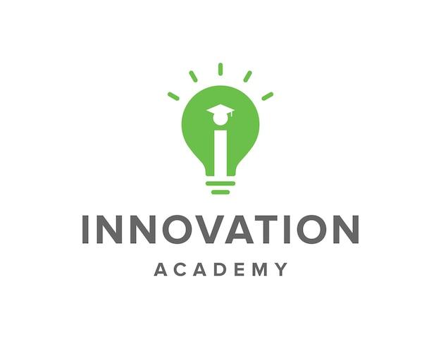 電球と卒業帽子シンプルで洗練された創造的な幾何学的なモダンなロゴデザイン