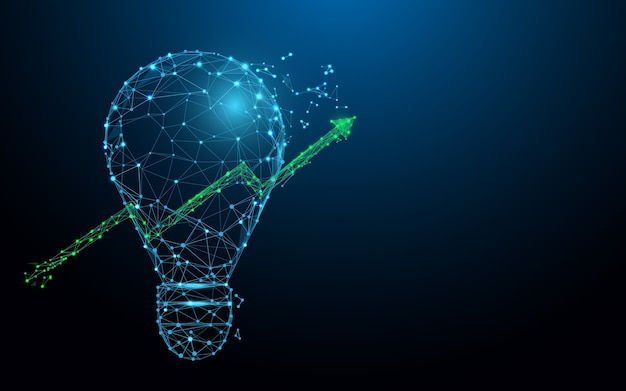 電球と成長するグラフのフォームライン