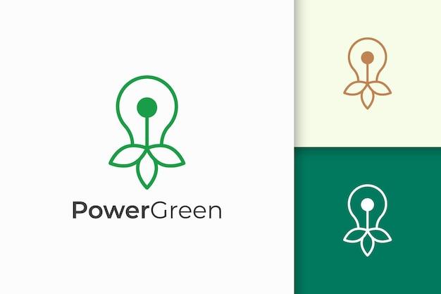 기술을 위한 미니멀하고 현대적인 전구 및 잎 로고