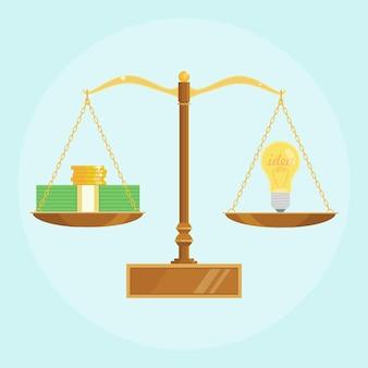 전구 및 비늘에 돈 균형의 스택. 아이디어는 돈 개념입니다. 브레인 스토밍, 발명 또는 혁신