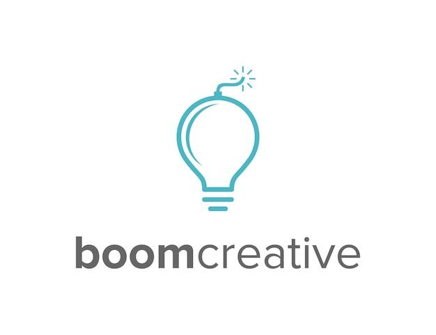 Light bulb and boom simple sleek creative geometric modern logo design