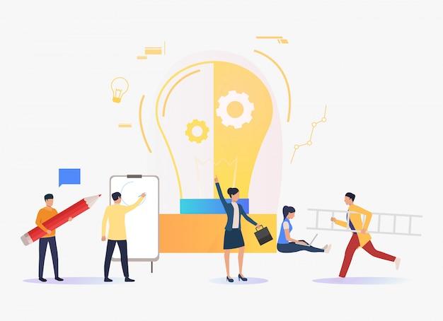 Лампочка, деловые люди работают и учатся