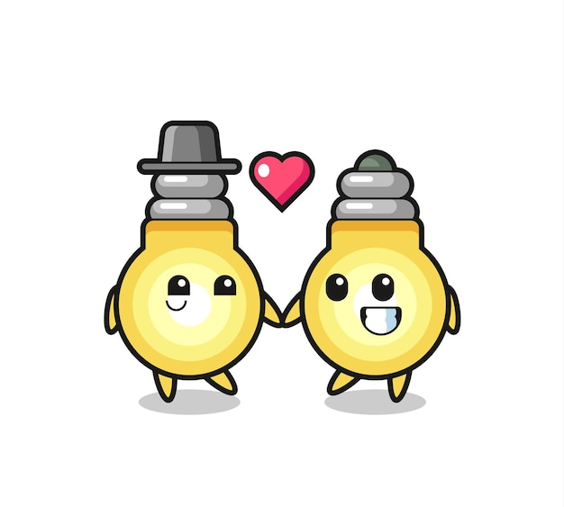 사랑 제스처에 빠진 전구 만화 캐릭터 커플, 티셔츠, 스티커, 로고 요소를 위한 귀여운 스타일 디자인