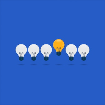 Light bulb cartoon character, great ideas illustration.