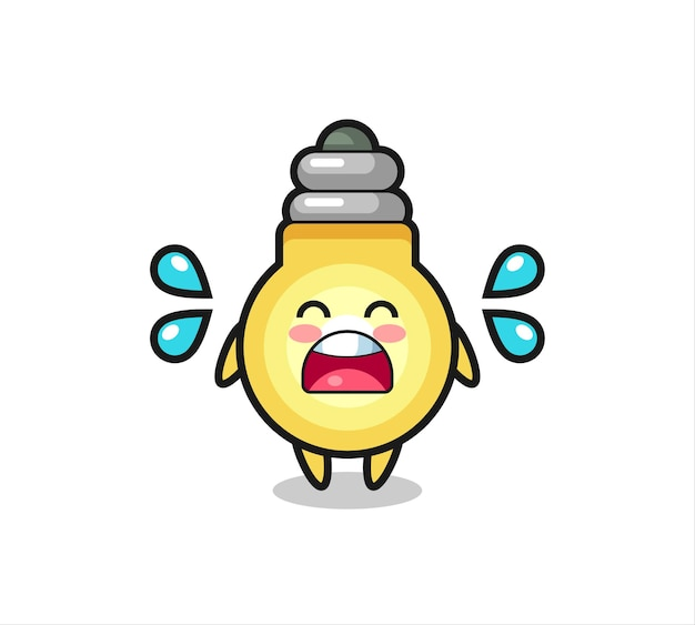 Light bulb cartoon illustration with crying gesture , cute style design for t shirt, sticker, logo element