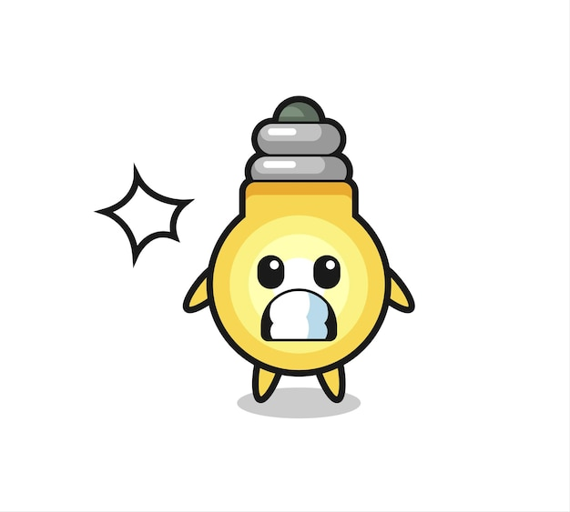 Light bulb character cartoon with shocked gesture , cute style design for t shirt, sticker, logo element
