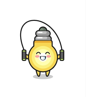 Light bulb character cartoon with skipping rope , cute style design for t shirt, sticker, logo element Premium Vector