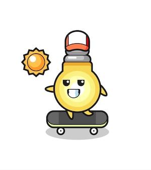 電球のキャラクターイラストはスケートボードに乗る、tシャツ、ステッカー、ロゴ要素のかわいいスタイルのデザイン