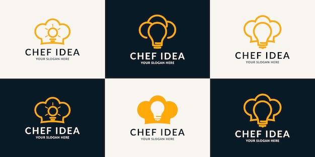 좋은 아이디어와 음식 로고를 위한 전구 요리사 모자 영감 로고