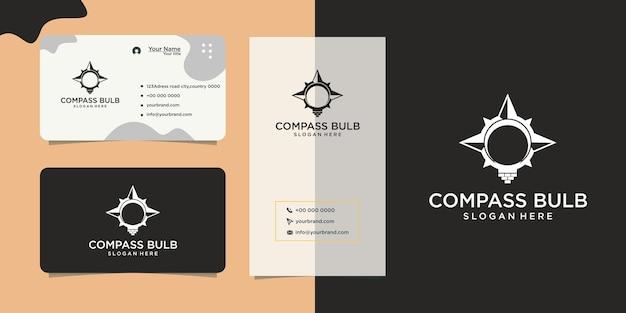 Light bulb design logo compass symbol and business card