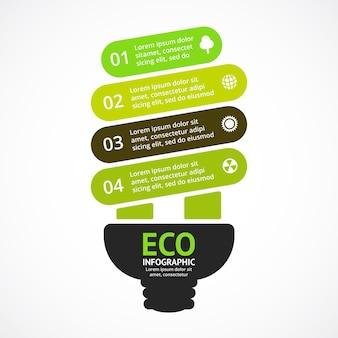 電球エコロジーベクトルインフォグラフィックプレゼンテーションテンプレート円グラフチャート4ステップの葉
