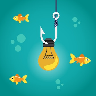 Light bulb on fishing hook and fishes swimming