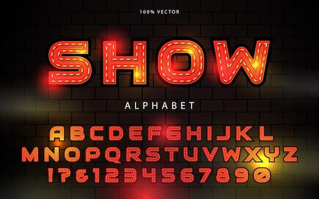 Light bulb font alphabet
