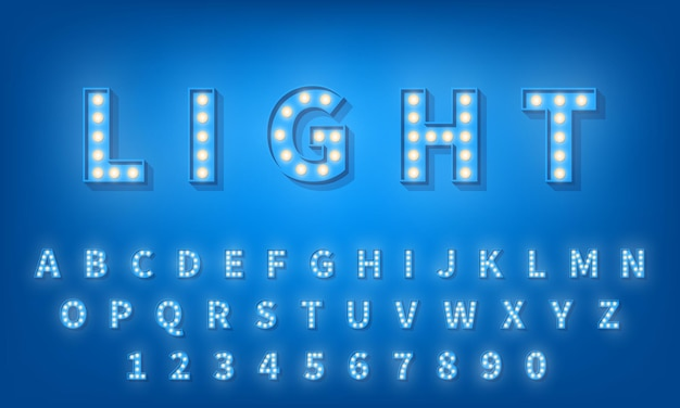 전구 글꼴. 레트로 스타일 3d 타이포그래피 서체 알파벳 프리미엄 벡터