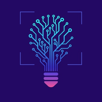 Light bulb in form of printed circuit board with glowing effects. hi tech design concept