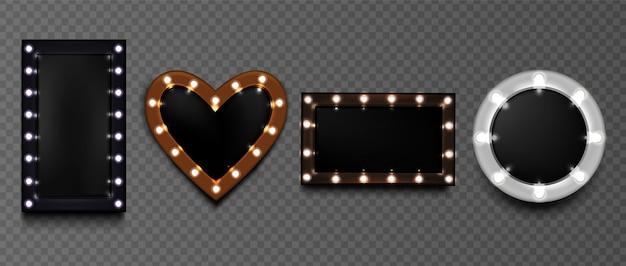 Рамки для лампочек, зеркала для макияжа в стиле ретро для художников