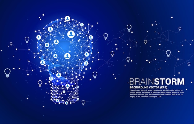 와이어 프레임 다각형 라인에서 전구 연결 점 기하학적 사람 아이콘. 프리미엄 벡터