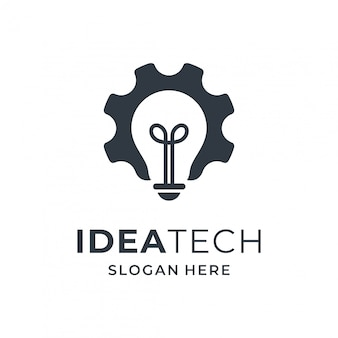 Light bulb and gear logo concept for tecnology company.