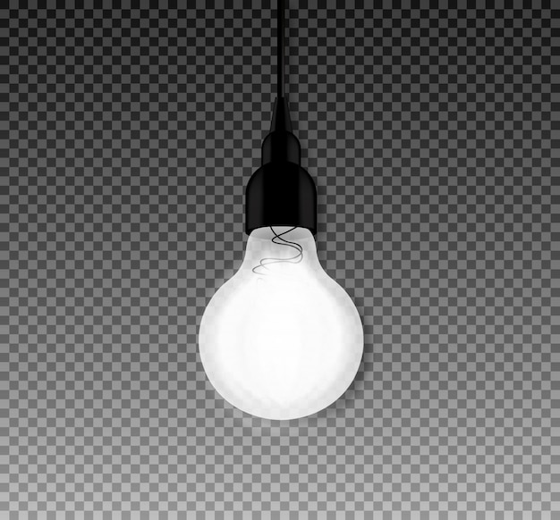Light bulb hanging isolated, idea concept