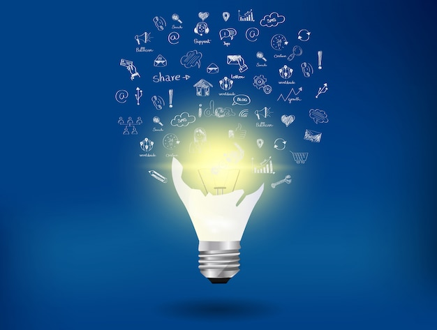 Light bulb and icon on background blue