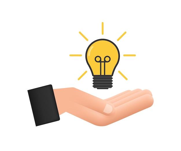 手で電球のアイコン。ランプ、白熱電球。ベクトルストックイラスト。