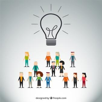 Icona lampadina con molte persone