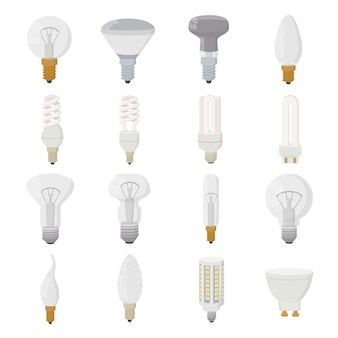 Light bulb icons set in cartoon style isolated