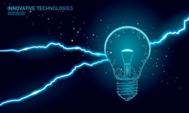 Лампа идея бизнес-концепция. проницательность молнии грома. опасная угроза рабочей ситуации. полигональная 3d треугольник векторная иллюстрация