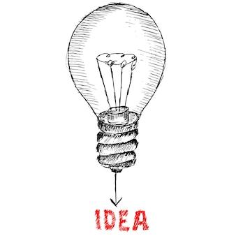 Идея лампочки, эскиз иллюстрации