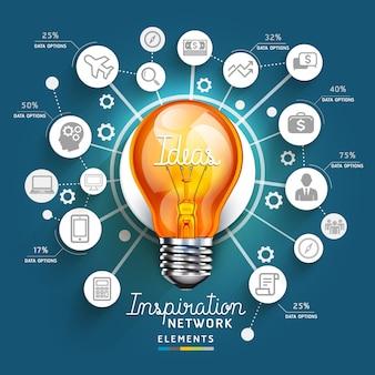 Light bulb ideas concept template.