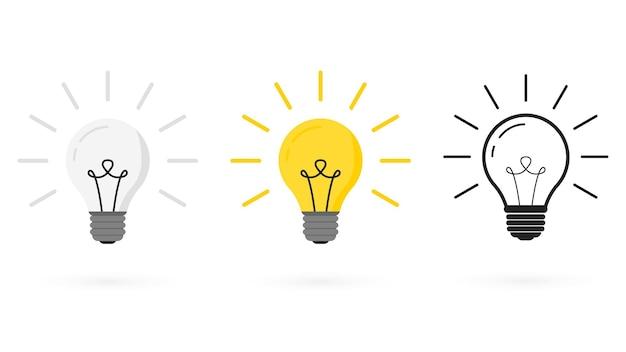 さまざまなスタイルの電球:ベクトル、線形、フラット。電球の線のアイコン。