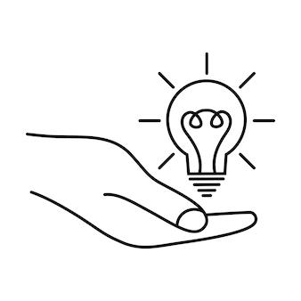 손에 전구 조명 전기 램프 창조적 인 문제 해결 편집 가능한 스트로크 벡터