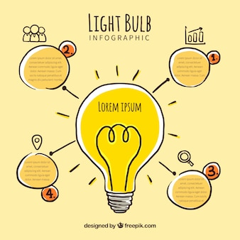 Light bulb infographic in different colors