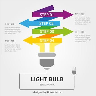 Light bulb infographic with colorful arrows