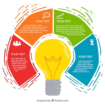 Light bulb infographic with different colors