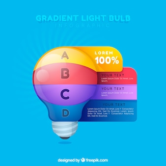 Light bulb infographic with gradient colors