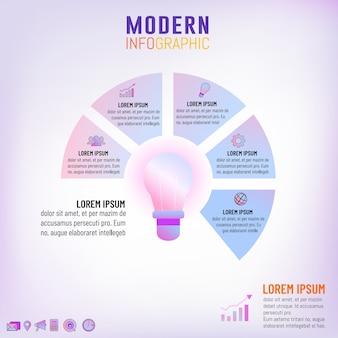 Светофорочная лампа инфографического шаблона для концепции бизнес-идеи