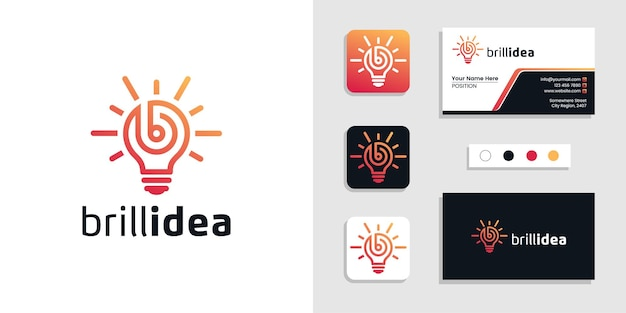 Light bulb initial letter b. brilliant idea logo and business card template