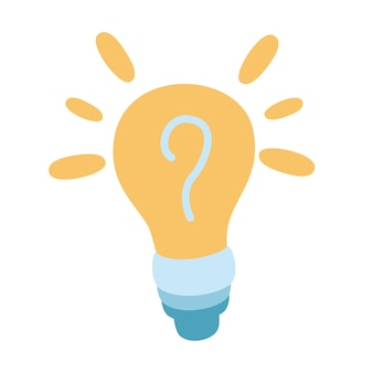 Light bulb lamp icon with question mark inside hint symbol problem solution icon in comic style