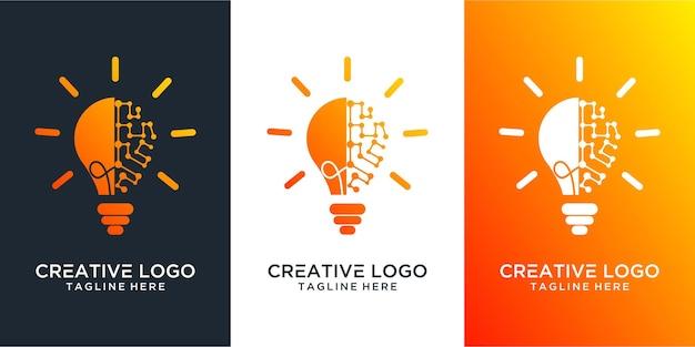 電球ランプのアイデアクリエイティブイノベーションエネルギーロゴデザイン