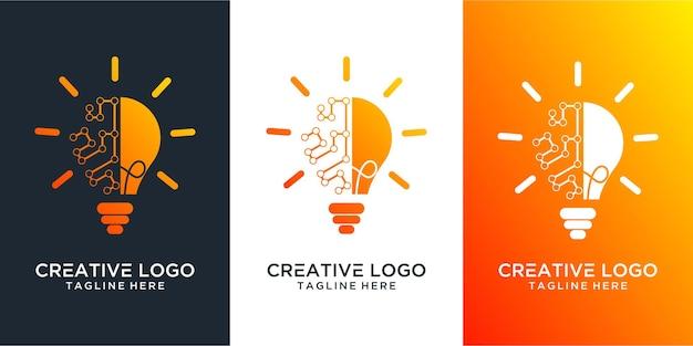 전구 램프 아이디어 창의적인 혁신 에너지 로고 디자인